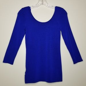 NWT Ann Taylor Blue Scooped Neck Ribbed